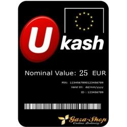 بطاقة يو كاش بقيمة 25 يورو