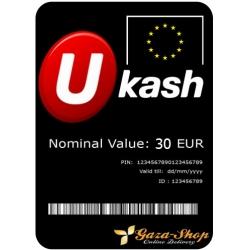 بطاقة يو كاش بقيمة 30 يورو